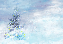 Christmas Winter Landscape. Collage Of Painting And Photography.