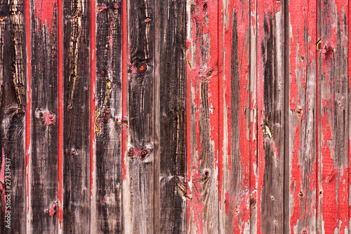 Poster Glisse hiver Red Painted Wood Paneling