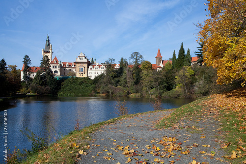 Foto op Canvas Herfst beautiful autumn landscape with colorful trees, a pond and a med