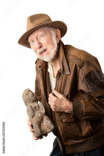 Photo Adventurer or archaeologist offering to sell idol