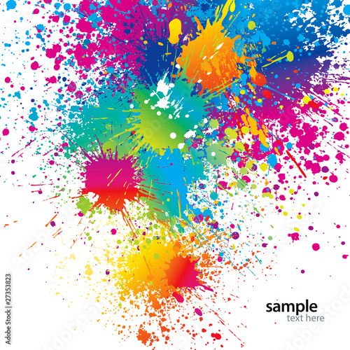 Papiers peints Forme Background with colorful spots and sprays on a white. Vector ill