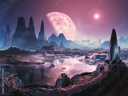 Unihabited Alien Planet Wallpaper Mural