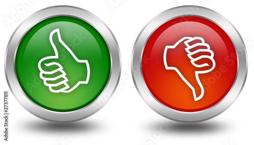 Obraz Thumb up down voting buttons - fototapety do salonu