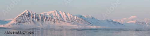 Aluminium Prints Dark grey Arctic mountain landscape - PANORAMA