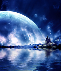 Fototapeta kosmiczna kraina nocą