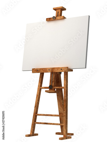 Photo  wooden easel with blank canvas isolated on white