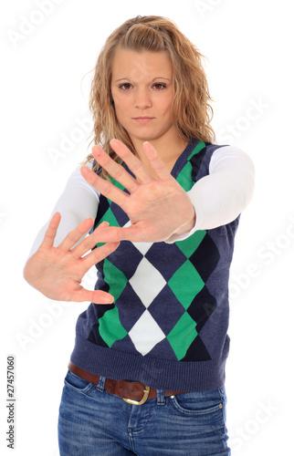 Fotografie, Obraz  Junge Frau mit abwehrender Gestik