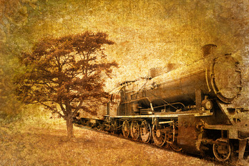 Fototapeta na wymiar abstract vintage photo of steam train