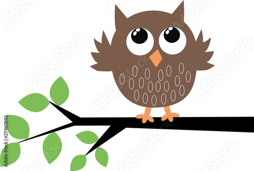 Deurstickers Uilen cartoon a cute owl