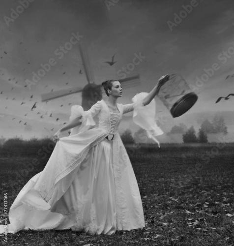 Fotografie, Obraz  Glamorous woman with cage