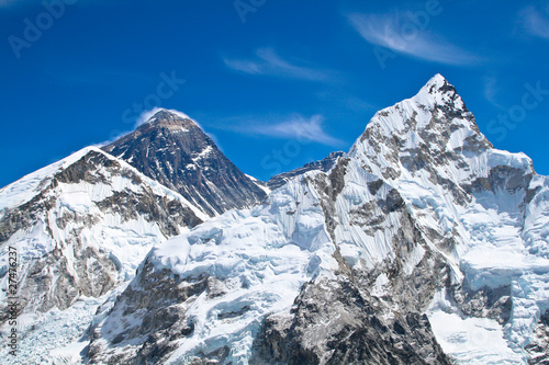 Fototapeta Everest and Lhotse mountain peaks view from Kala Pattar, Nepal obraz