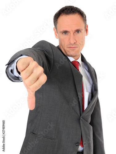 Fotografie, Obraz  Geschäftsmann zeigt mit dem Daumen runter
