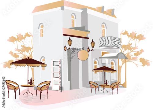 Tuinposter Drawn Street cafe Street cafe