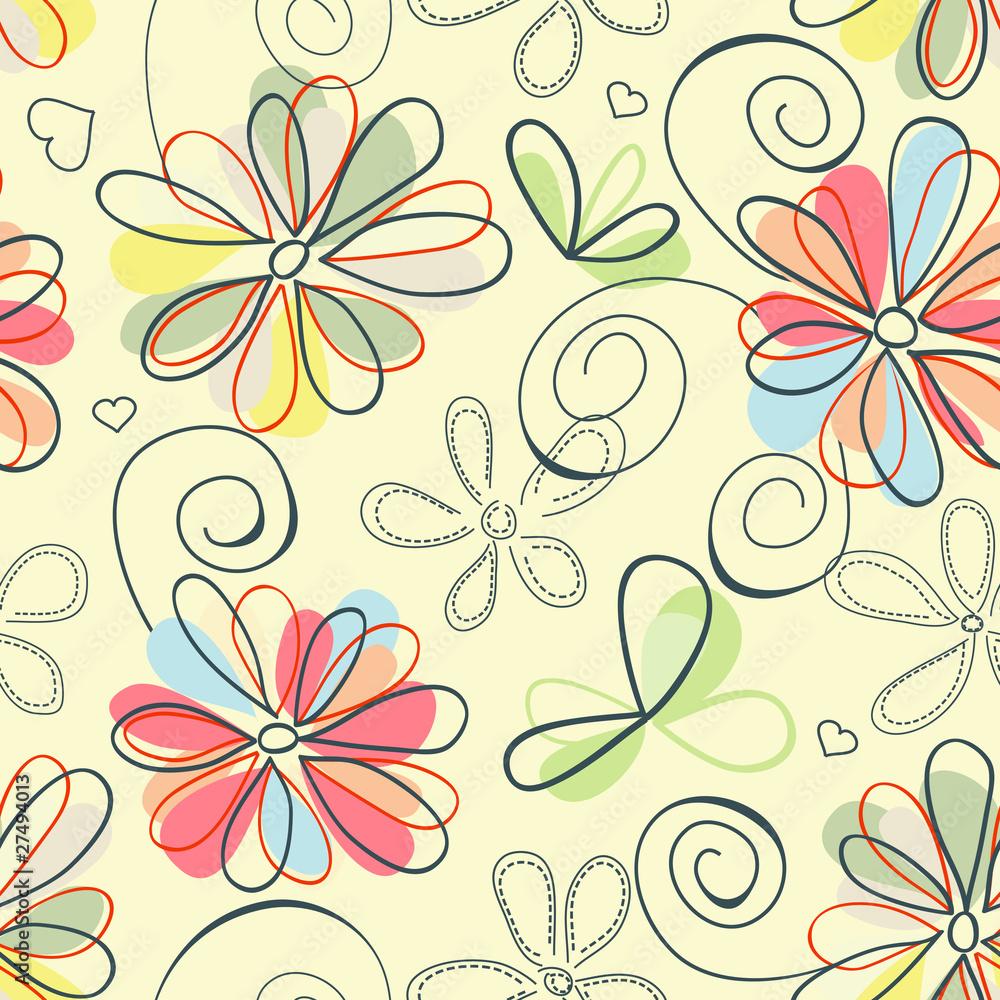 Retro floral background (seamless)