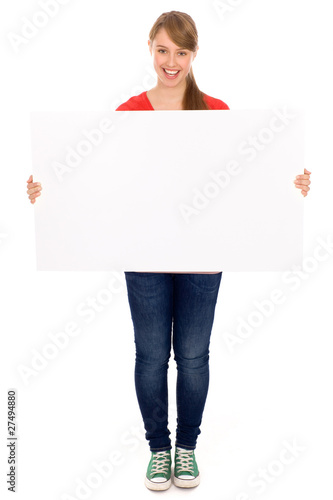Fotografía  Young woman holding blank poster