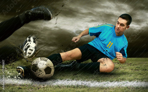 Fotobehang Voetbal Soccer players on the field