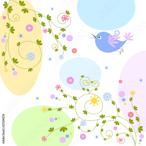Poster Oiseaux, Abeilles floral greeting card with bird