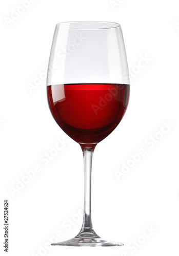 Foto op Aluminium Alcohol Red wine glass isolated on white background