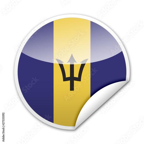 Photo Pegatina bandera Barbados con reborde
