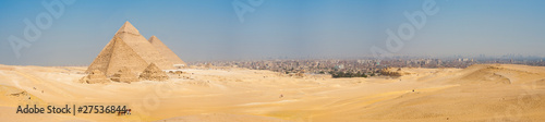 Egypt All Giza Pyramids Panorama Cairo Cityscape