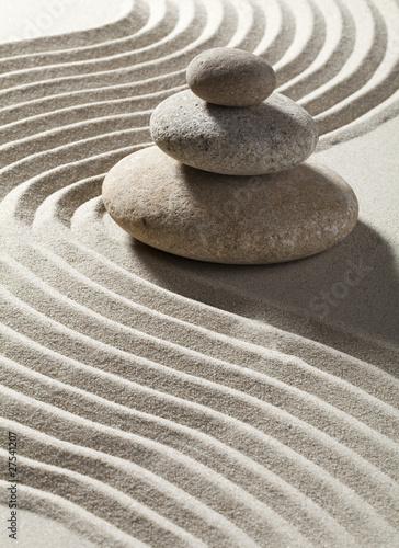 Foto op Canvas Zen onde zen sur sable et trois galets