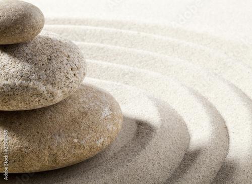 Tuinposter Stenen in het Zand vague zen de sable et pierres
