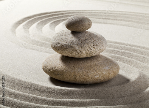 Poster Zen pierres a sable jardin zen avec sable et galets