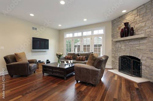 Fotografie, Tablou  Family room with stone fireplace