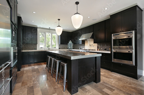 Fotomural Kitchen with dark wood cabinetry