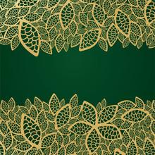 Golden Leaf Lace On Green Back...