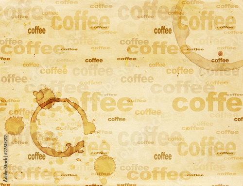 Garden Poster Retro sign Paper texture with drops of coffee