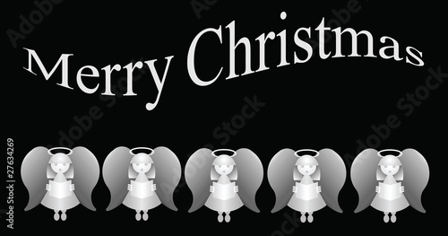 Merry Christmas message with five carol singing angels фототапет