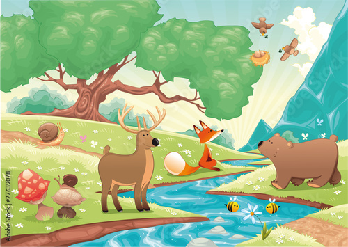Wall Murals Bears Animals in the wood. Vector landscape, isolated objects.