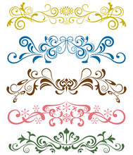 Abstract Floral Ornaments Set