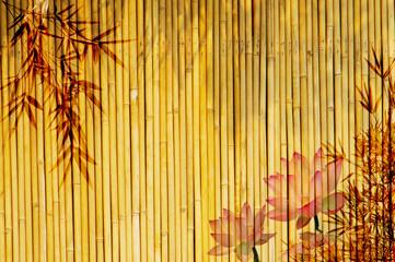 Fototapeta Bambus lotus and bamboo background .