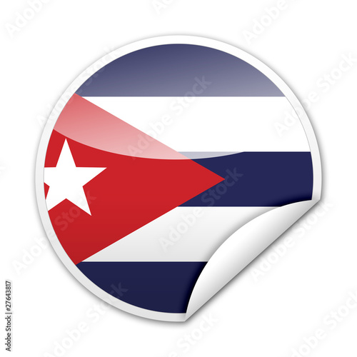 Pegatina bandera Cuba con reborde Wallpaper Mural