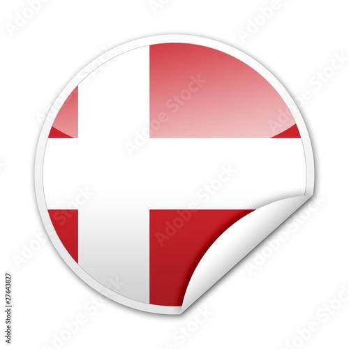 Pegatina bandera Dinamarca con reborde Poster