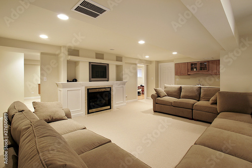 Basement in luxury home Canvas Print