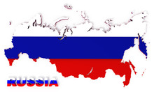Russia, Map With Flag, Isolate...
