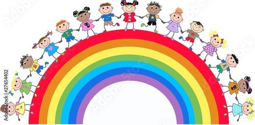 In de dag Regenboog mixed ethnic kids