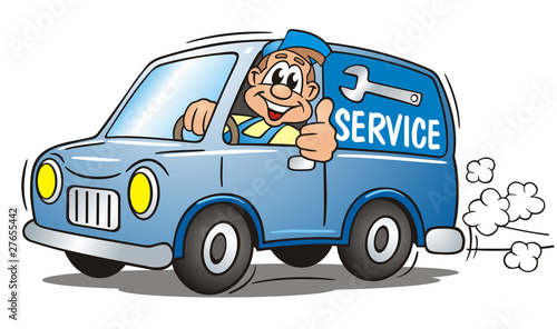 Spoed Foto op Canvas Cartoon cars Mechanician Service Van