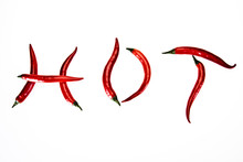 Red Hot Chili Peppers On White Background, Hot