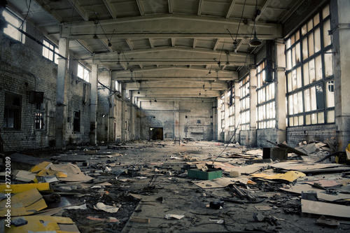 Abandoned Industrial interior Canvas Print