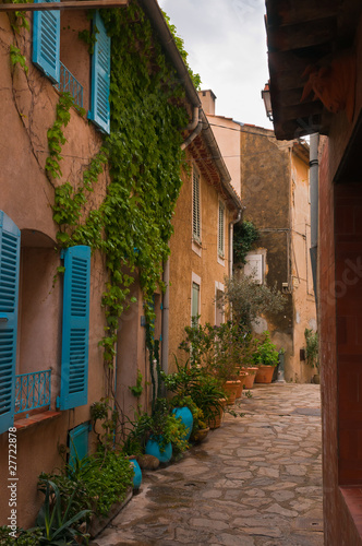 Fototapety, obrazy: street with flower pots in southern French village