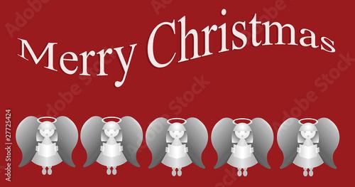 Платно Merry Christmas message with five carol singing angels