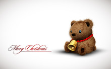 Teddy Bear Wearing A Golden Bell As Necklace Wishes You A Merry