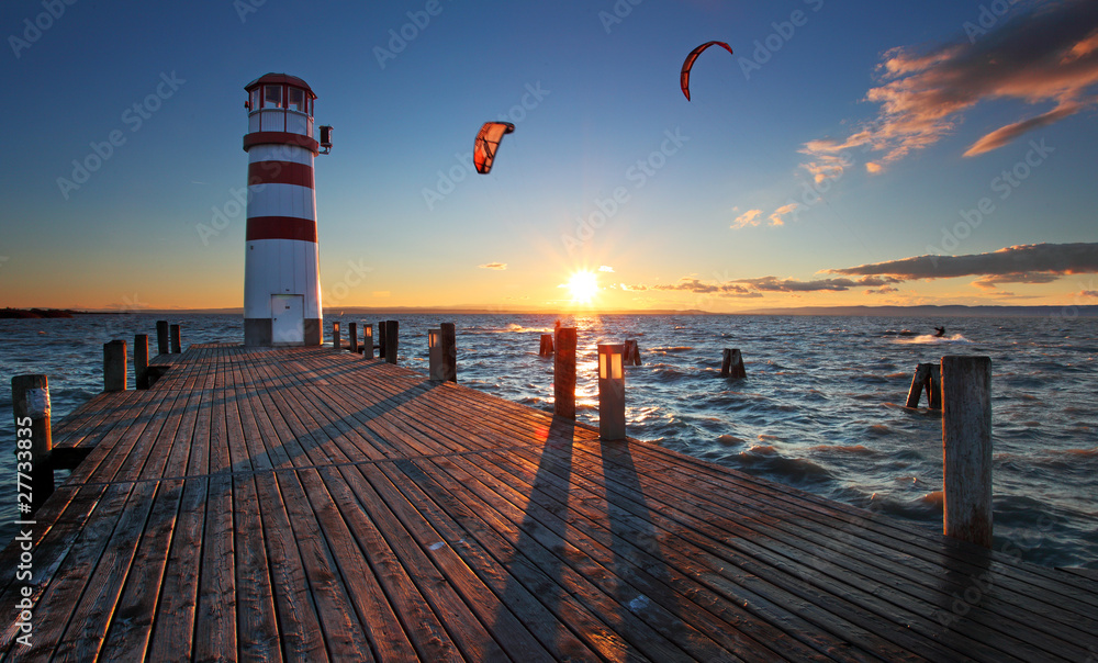 Fototapeta Lighthouse in Lake Neusiedl at sunset - Lower Austria