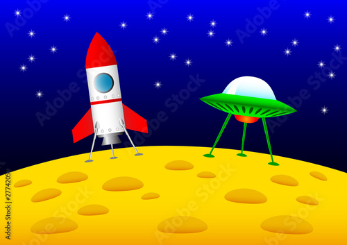Foto op Canvas Kosmos Rocket and UFO on the Moon