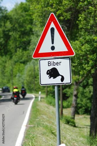 Cuadros en Lienzo Achtung Bieber - Verkehrsschild
