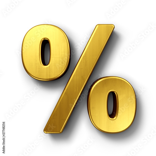 Fotografía  Percentage sign in gold